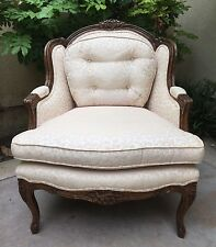Bau Furniture French Bergere Pink Cushion Upholstered Hand Carve Edge Armchair