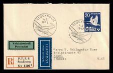 DR WHO 1942 SWEDEN STOCKHOLM REGISTERED AIRMAIL TO SWITZERLAND 183660