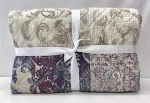 NEW Pottery Barn Kali Handcrafted Patchwork FULL/QUEEN Cotton Quilt~Gray Multi