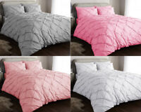 PINTUCK BEDDING DUVET COVER SET DOUBLE KING SILVER PINK QUILT COVERS PILLOW CASE