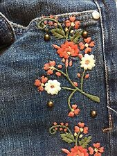NEW Anthropologie Pilcro Hyphen EMBROIDERED Mid-Rise FLORAL JEANS 27 28 sold out