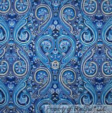 BonEful Fabric FQ Cotton Quilt Blue Tone VTG Paisley French Chic Cottage Flower