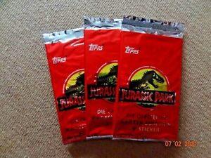 TOPPS GERMAN LANGUAGE JURASSIC PARK TRADING CARD BOOSTER PACK X 3