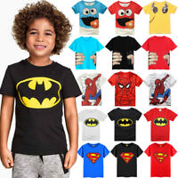 Summer Kids Boys Printed Cotton Tops T-shirt Casual Short Sleeve Tee Shirts 1-8Y