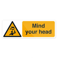 Mind Your Head Sign 300 x 100mm Self-Adhesive  Signage Safety Signs