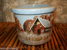Harleston SC Concord Pottery Small Crock Signed Red Barn Country House Primitive