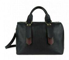 JAEGER Cara Black Leather Contrast Strap  Tote Bag with Shoulder Strap