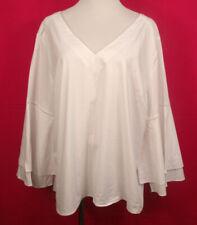 Plus Size Lane Bryant 22/24 White V-Neckline 3/4 Length Flared Sleeves Top