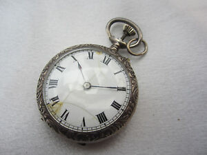 *MH242* Antike offene Damentaschenuhr aus Sterlingsilber