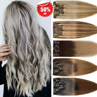 Balayage Real Double Weft Clip in Human Remy Hair Extensions THICK Full Head US