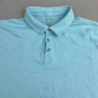 Apt. 9 Polo Shirt Mens 2XL Light Blue Short Sleeve Three Button Up Cotton Casual