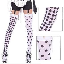 White/Black Sheer Two Toned Thigh High Harlequin Polka Dot Stocking Halloween OS