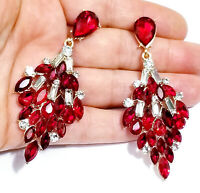 Rhinestone Chandelier Earrings Red 3 in