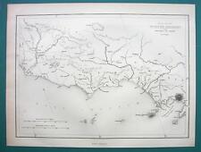 1854 MAP - Italy Coast Between Rome & Naples Puteoli