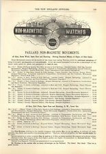 1894 PAPER AD Paillard Non Magnetic Pocket Watch 18 16 Size Price List Bicycle