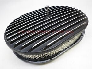 """12"""" Black Powder Finned Aluminum Classic Nostalgia Air Cleaner Chevy Ford SBCBBC"""