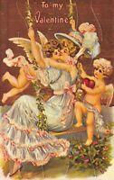 Valentine Puzzle Postcard Cherub Angels Kissing Woman on Swing Heart~126359