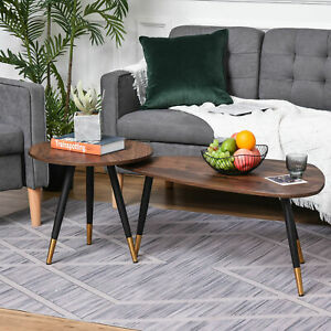 HOMCOM Coffee Table Set of 2 Nesting End Side Tables Living Room Home Office