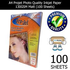 PROJET A4 INKJET PHOTO PAPER 100 SHEETS 130GSM MATT PREMIUM QUALITY