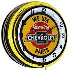 "We Use Genuine Chevrolet Parts Sign Yellow Double Neon Clock Garage Decor (19"")"