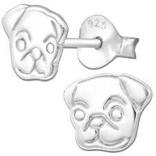 Ohrringe K303 für Kinder Mädchen Damen Ohrstecker 925 er echt Silber Mops Hund