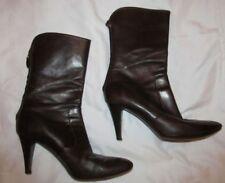 COLE HAAN mid calf soft dark brown leather back zip high heel boots 10