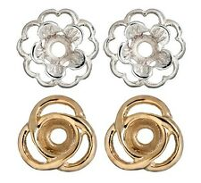 2 Pair Earring Jackets Set of 1 Pair Gold Loops and 1 Pair Silver Flower Jacket
