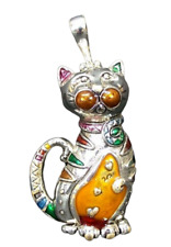 Kitty Cat Necklace Charm Magnet Silver Plated Cat Pendant