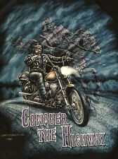 VTG 90's Biker Motorcycle T-SHIRT CONQUER THE HIGHWAY ~ Size L USA MADE Harley