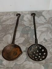 Antique Cast Iron Camping / Farm House Ladle's w/ Hook Handles/ Set of 2