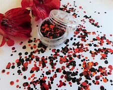 NAIL Art grosso * Rouge * Cerchio Rosso Nero Dot Spot Forma Glitter Spangle MIX Pot