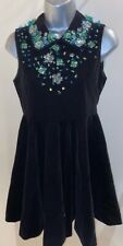 Black Silk Blend Velvet Feel Skater Dress With Green Embelishments Size 10