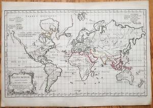 Vaugondy Decorative Map of the World Mappe Monde (2) - 18th. century