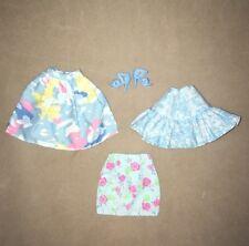 Barbie Doll Clothes 3 Cute Blue Print Skirts, 2 Are Mattel. Plus Shoes.