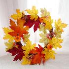 Halloween Artificial Pumpkin Wreath Maple Leaf Berry Garland Door Home Decor