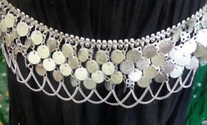 Bollywood India Coin  silver metal Belt Scarf chain Costume Jewelry Gypsy kuchi