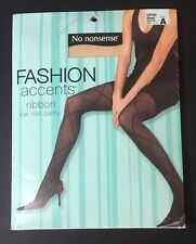NEW No Nonsense Fashion Accents Nude Almond Sheer Toe Ribbon Accent Pantyhose A