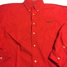 Fujitsu Red LS Button Down employee issued Shirt Mens Sz Large