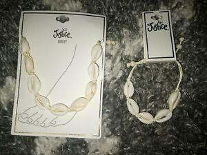 Justice new white shell bracelet & anklet