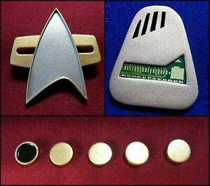 Star Trek Voyager Communicator Combadge + Rank Pip Pin + EMH Holo-Emitter
