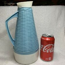 Vintage Blue & White Baske Weave Design Plastic Juice Pitcher Unique