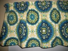 Blue Polka Dot Flower Circle Suzanni retro fabric window topper curtain Valance