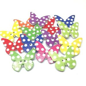 30 Wooden Butterfly Buttons Craft Scrapbooking Cardmaking Embellishments Sewing