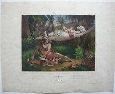Mexico Familie überrascht von Löwen Orig. Lithografie Maurin Turgis 1830