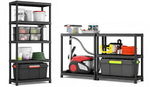 Heavy Duty 5 Tier Plastic Racking Shelving Storage Unit - 275 Kg Load Capacity!