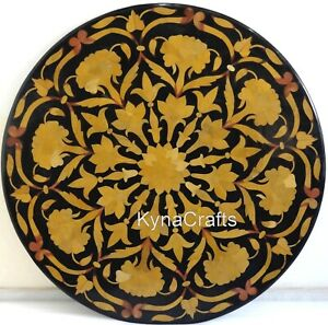 Black Marble Coffee Table Top Shiny Floral Pattern Corner Table for Home 18 Inch