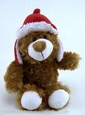 Kuscheltier Plüschtier Teddy von WINDEL - braun / rot-weißer Fellmütze ca. 27 cm