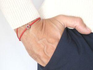 Kabbalah Star of David 925 sterling silver leather bracelet men bangle bead new