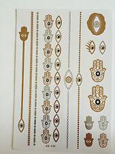 Planche de 16 Tatouages éphémères métallique. Tatoo temporaire Fatma oeil