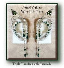 Triple Teardrop Emerald Wire Elf Ears: Sterling Silver Filled, Swarovski Crystal